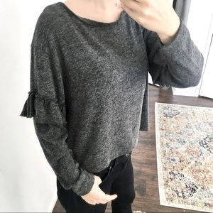 Zara collection - wool ruffle crop top